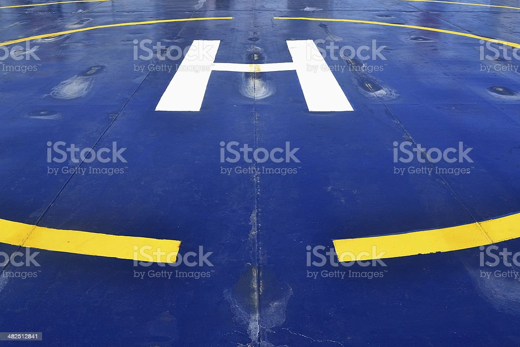 Helicopter pad on the ship stock photo