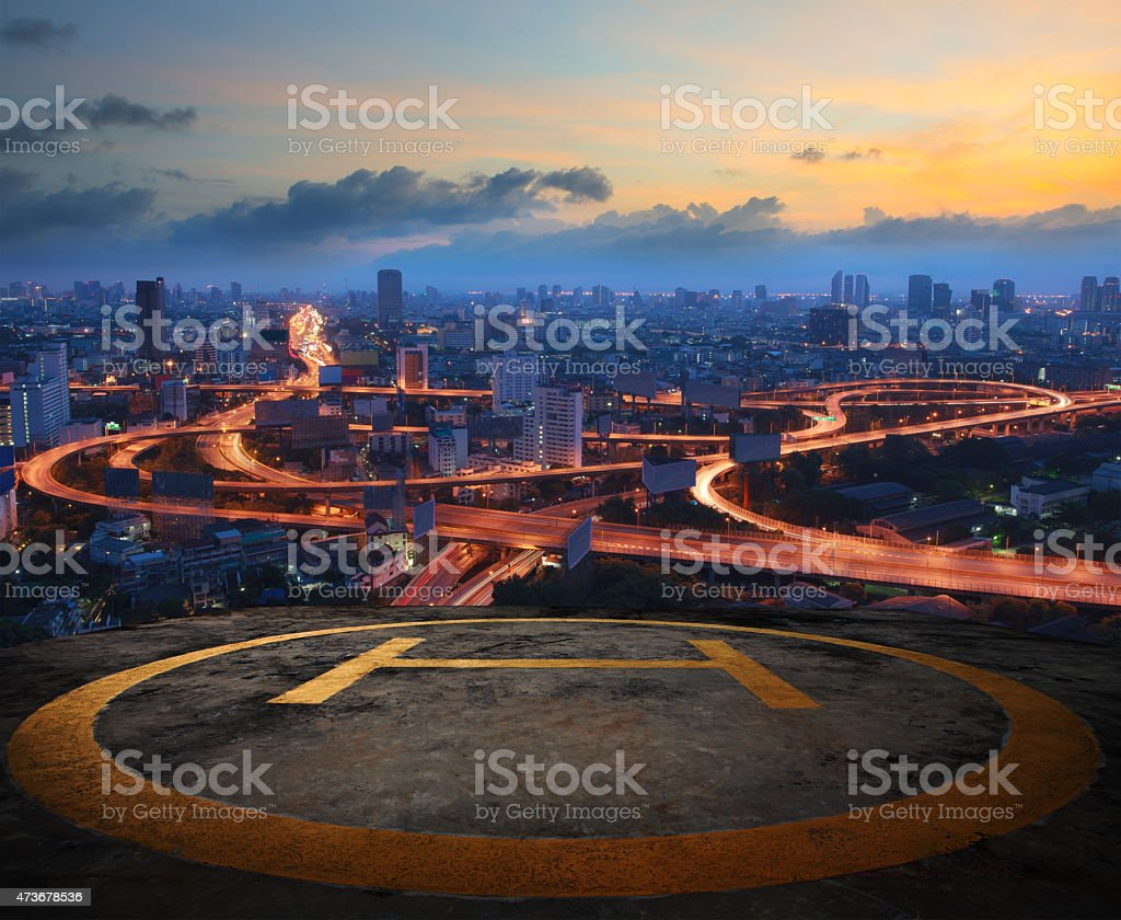 helicopter pad on top building roof stock photo