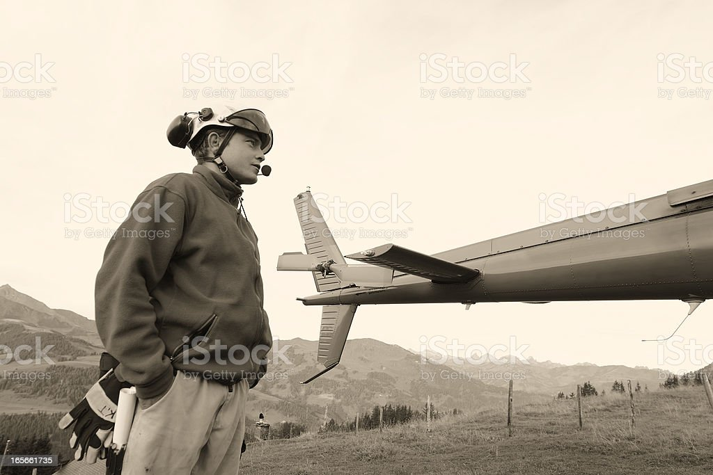Helicopter Pilot in Switzerland royalty-free stock photo