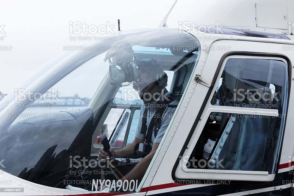 Helicopter pilot stock photo