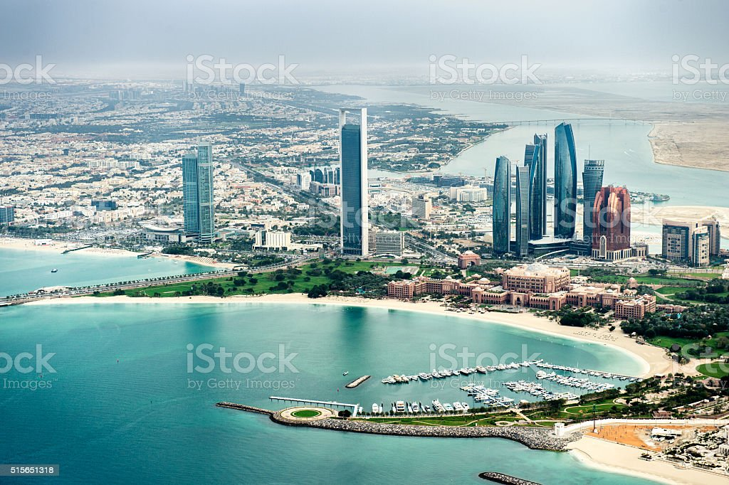 Helicopter point of view of Abu Dhabi stock photo