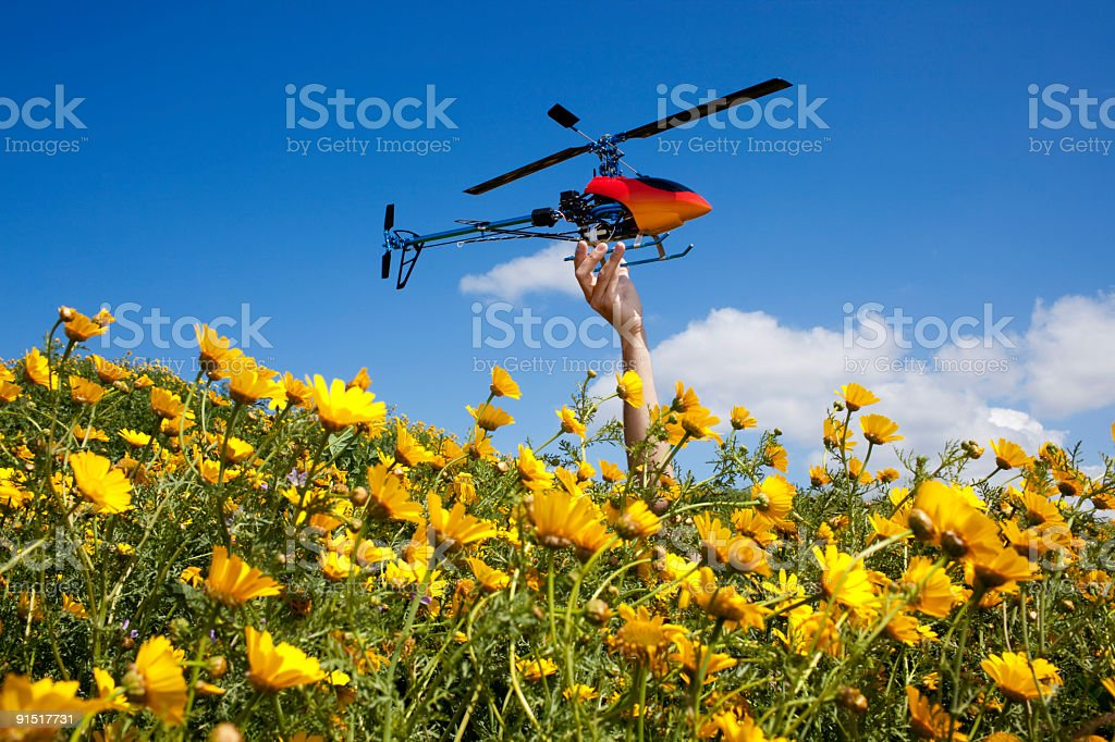 RC Helicopter presentation stock photo