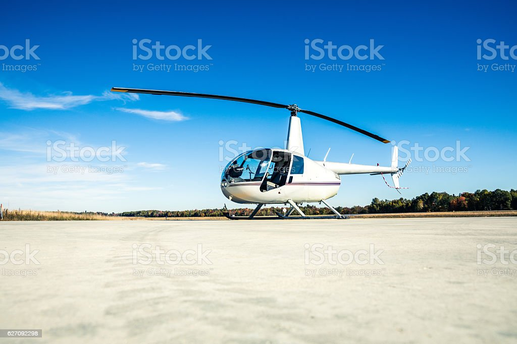 Helicopter ready for departure at Heliport stock photo