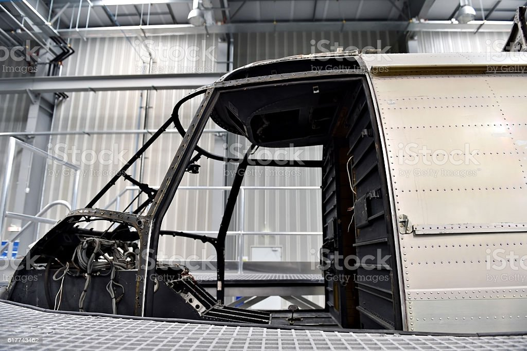 Helicopter repair inside factory stock photo