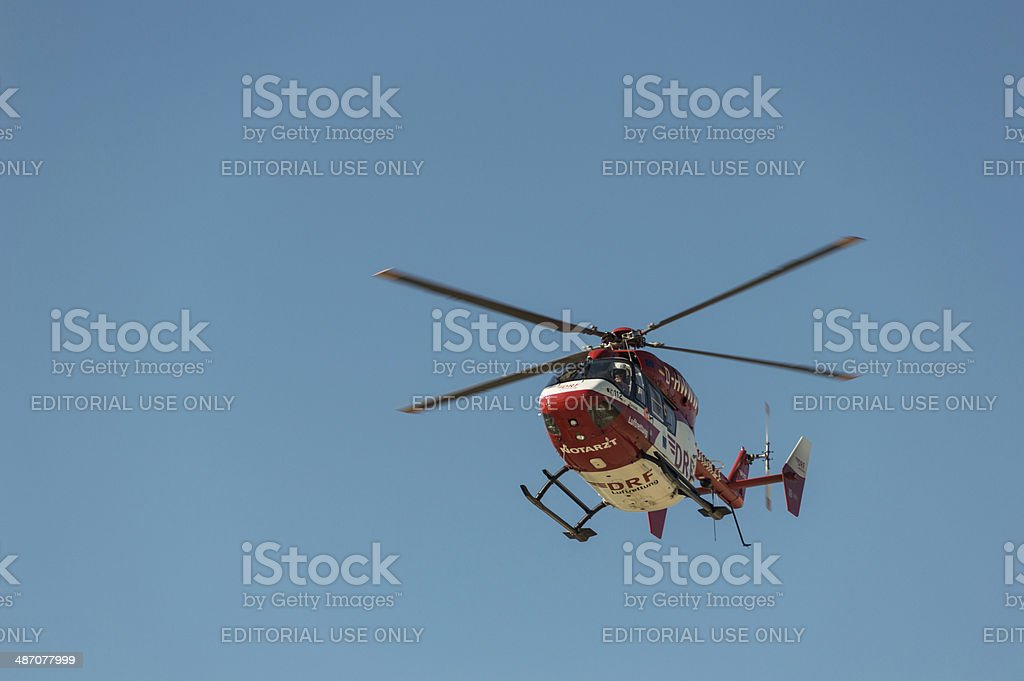 Helicopter Rescue Mission on the Beach stock photo
