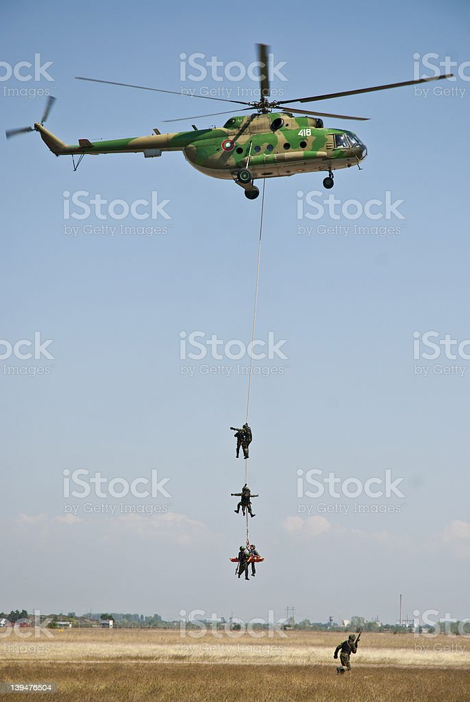 Helicopter rescue soldiers royalty-free stock photo