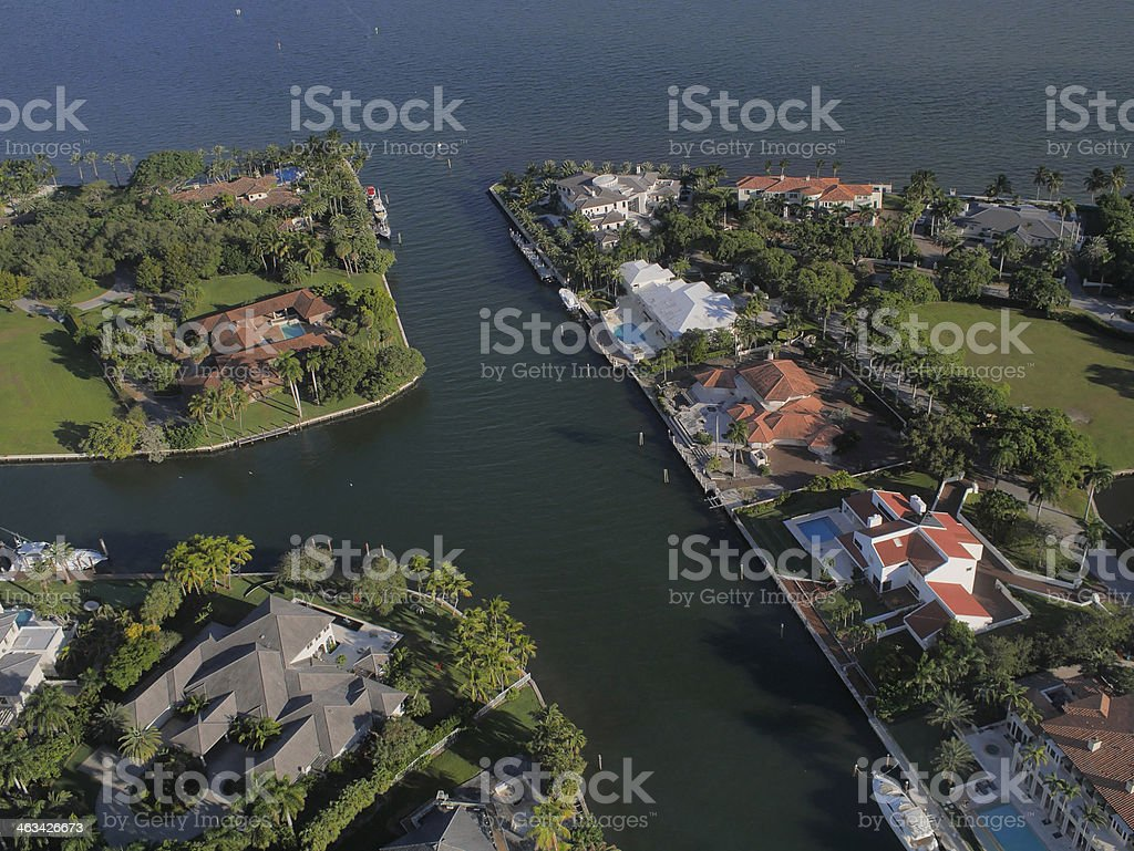 Helicopter ride over Gables by the sea stock photo
