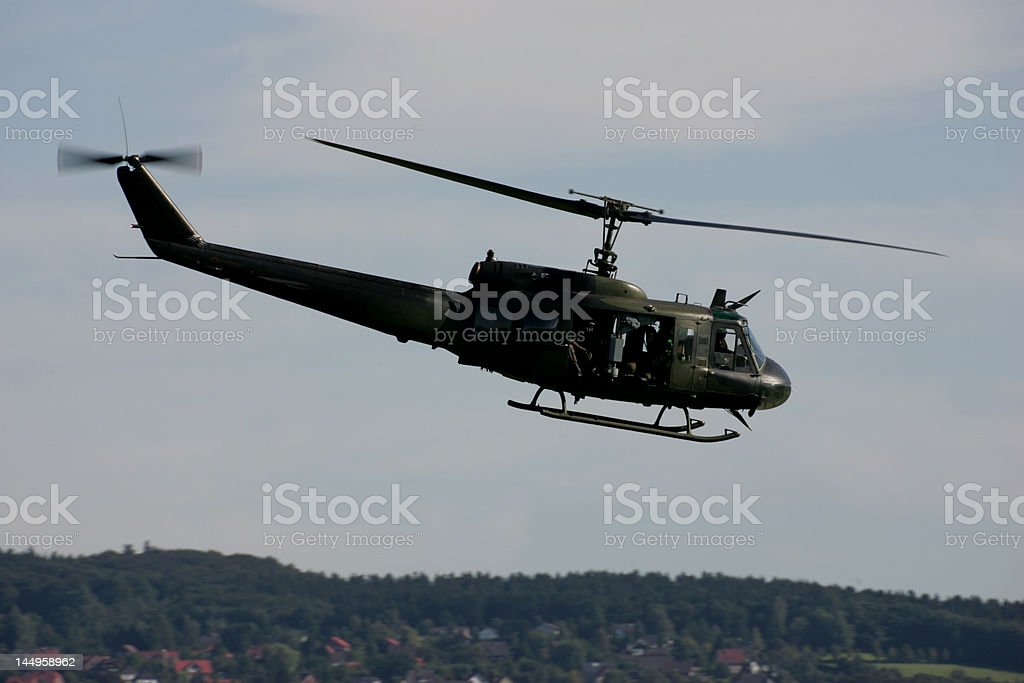 Helicopter ride to the battlefield stock photo