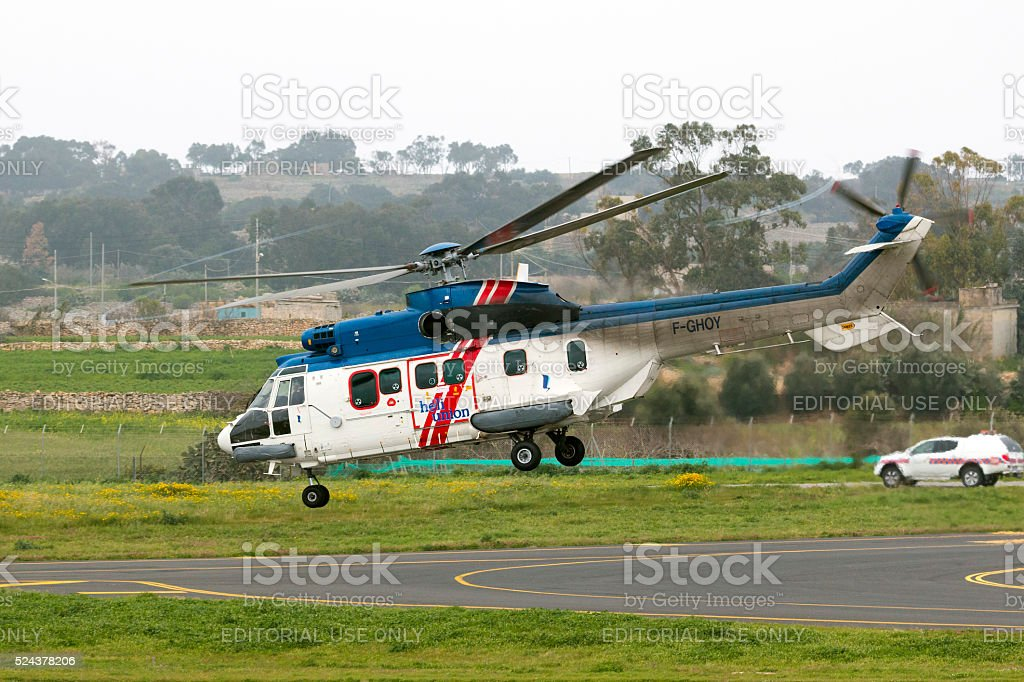Helicopter serving oil rigs in the Mediterranean stock photo