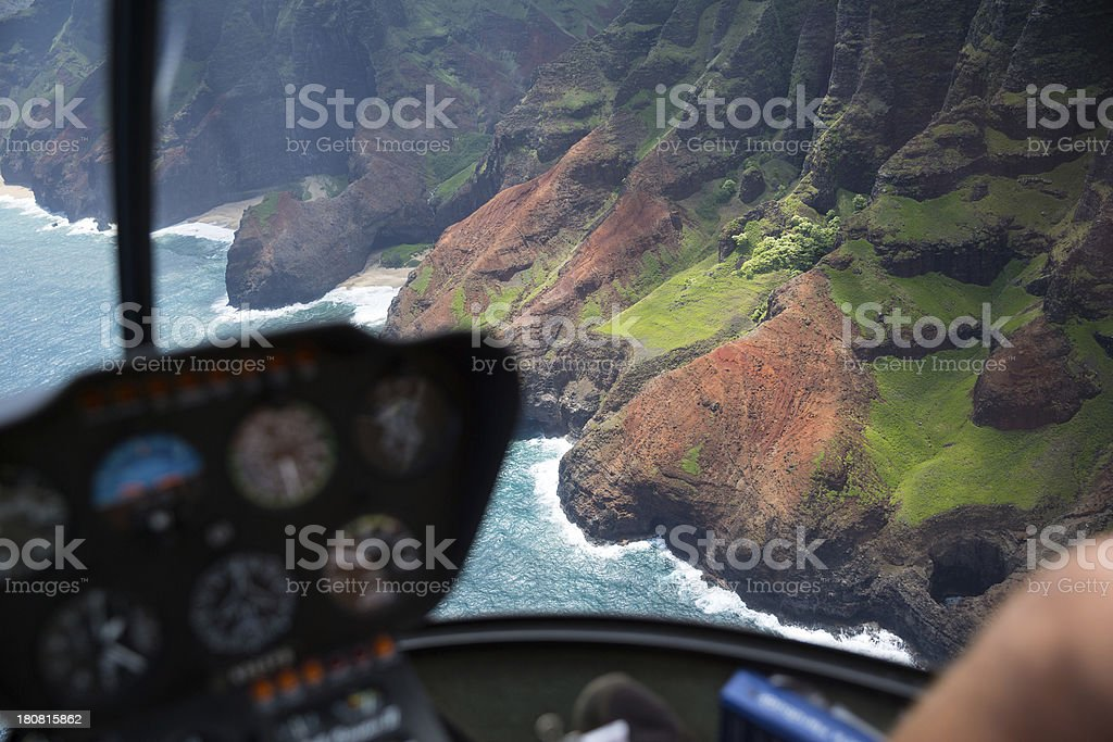 Helicopter sight seeing stock photo