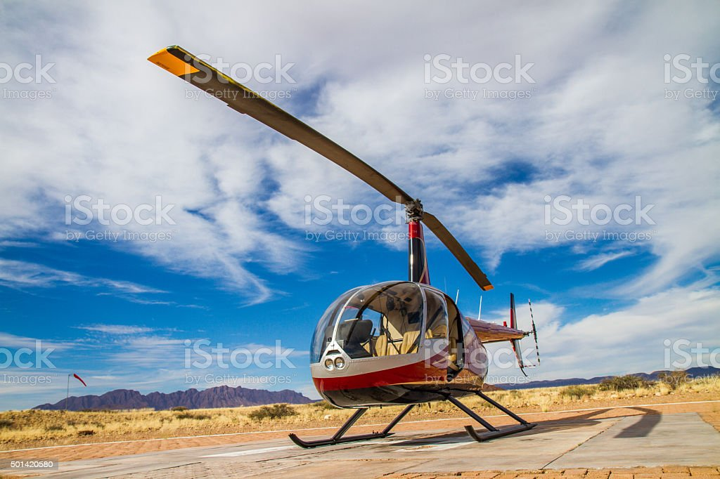 Helicopter Station In Namibian Savannah stock photo