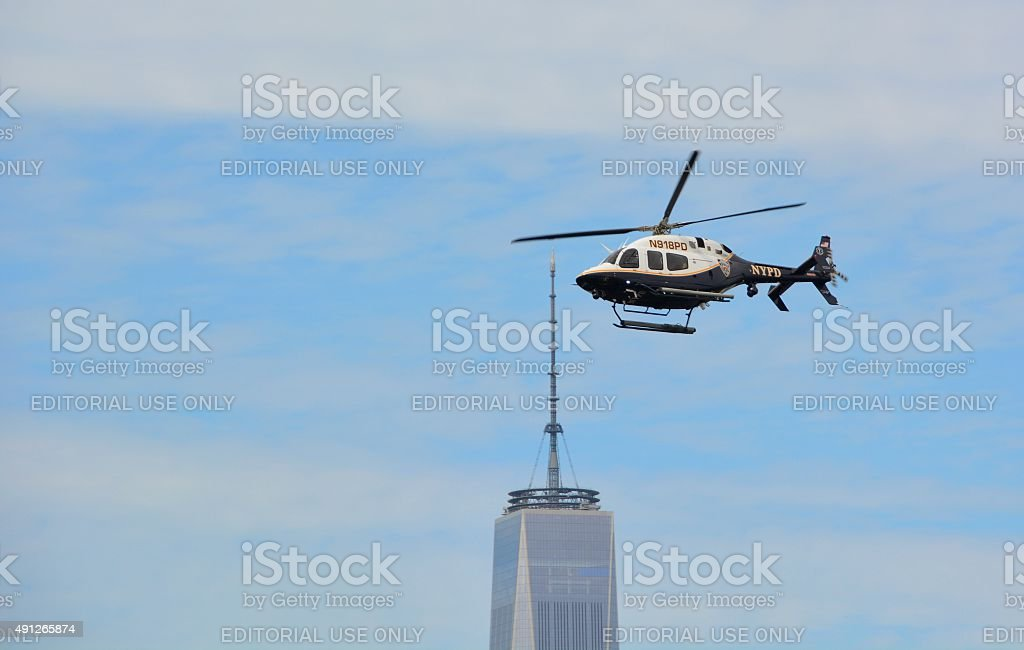 NYPD helicopter surveillance stock photo
