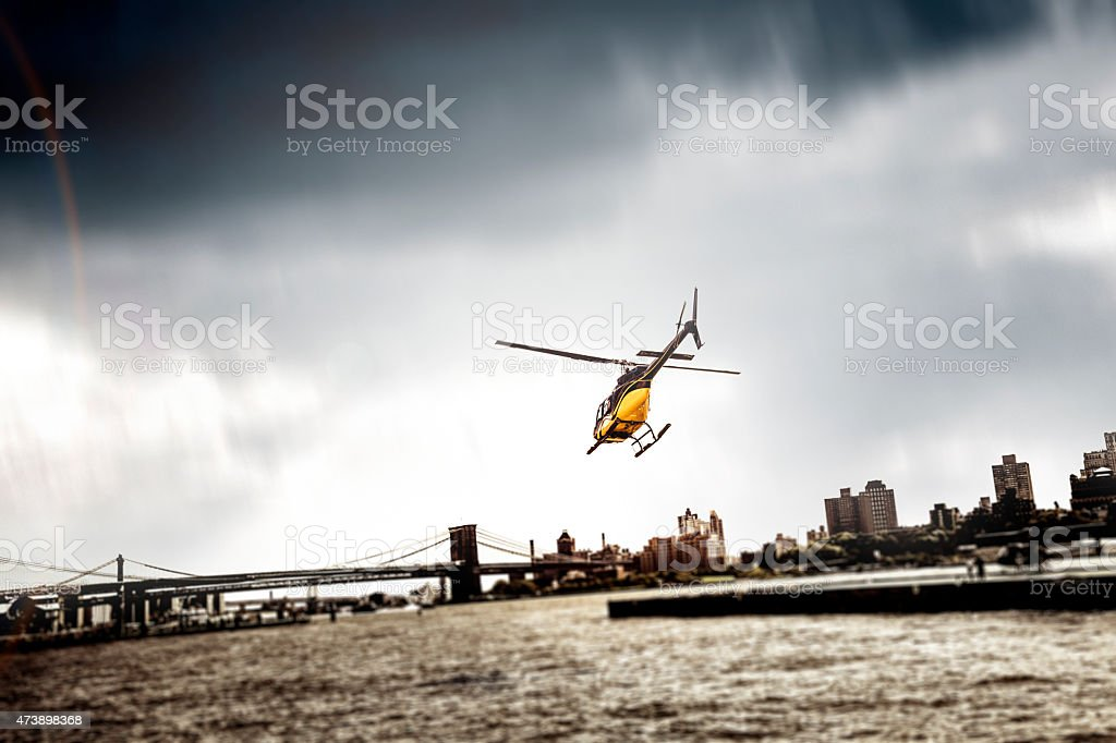 Helicopter take off from Manhattan Heliport in New York stock photo
