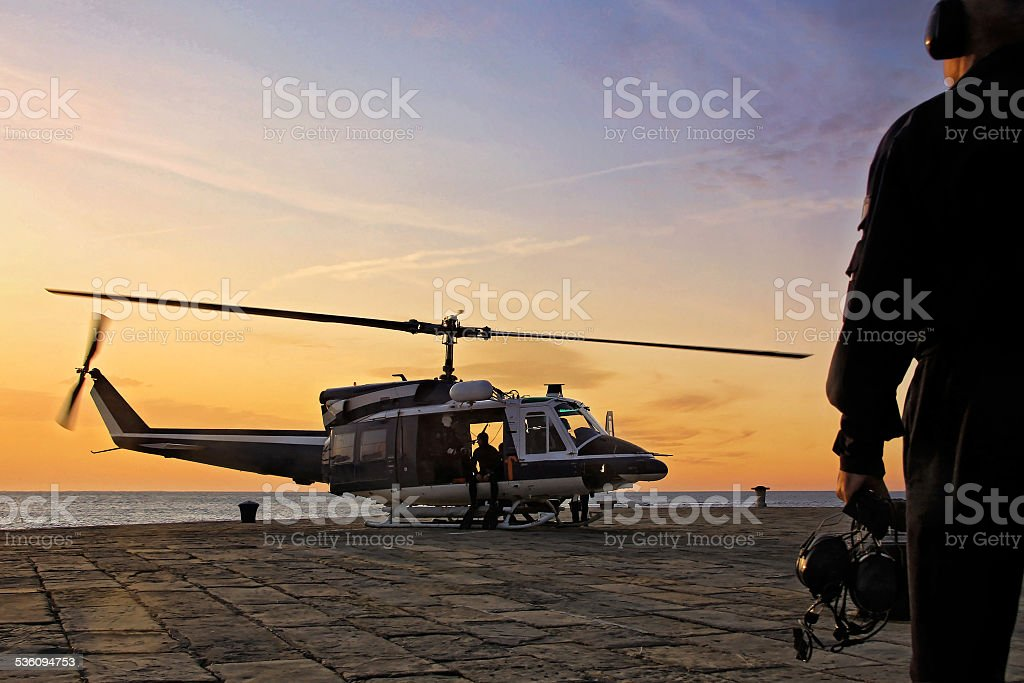 Helicopter taking off stock photo