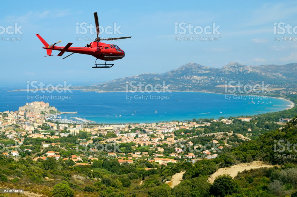 Helicopter tour in Corse, France stock photo