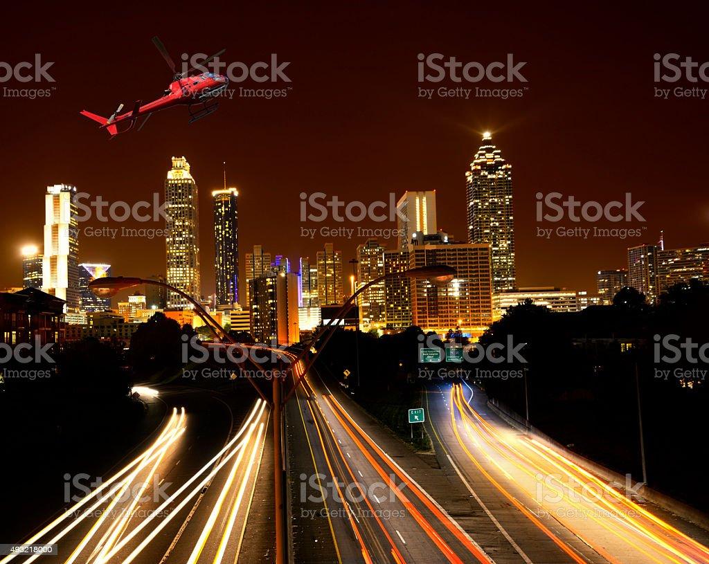 Helicopter tour in the night over Atlanta, Georgia stock photo