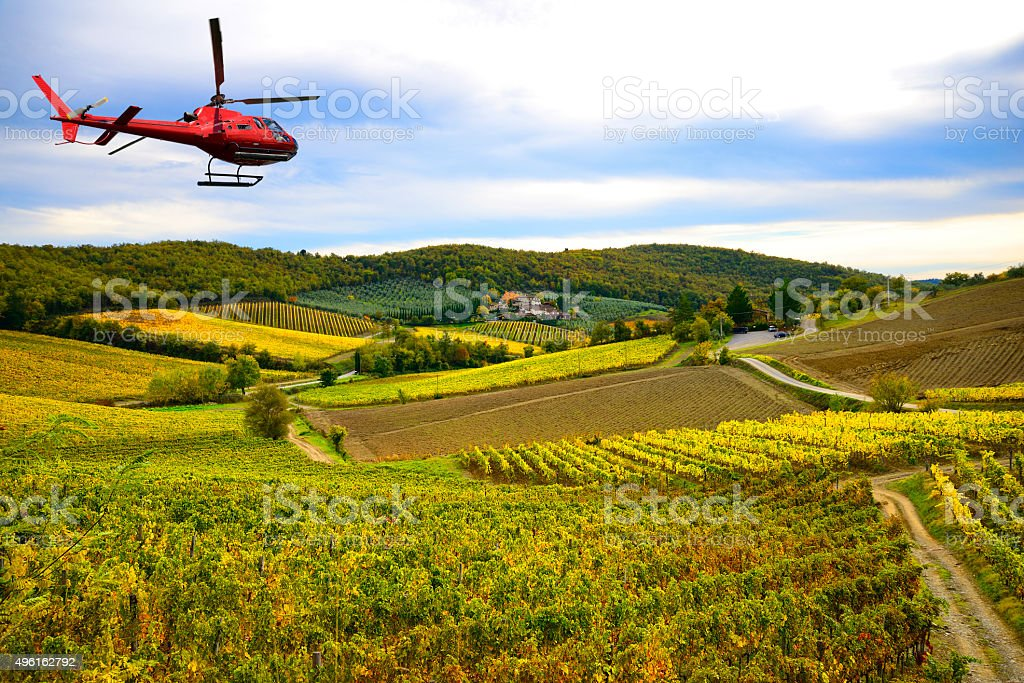 Helicopter tour in Tuscany stock photo