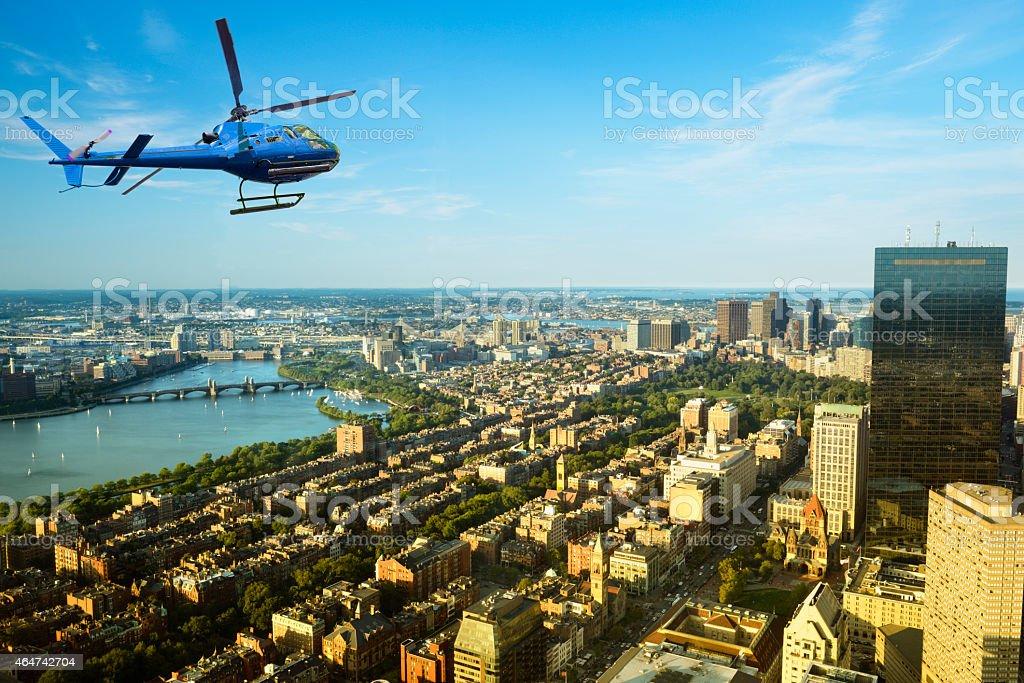 Helicopter tour over Boston stock photo