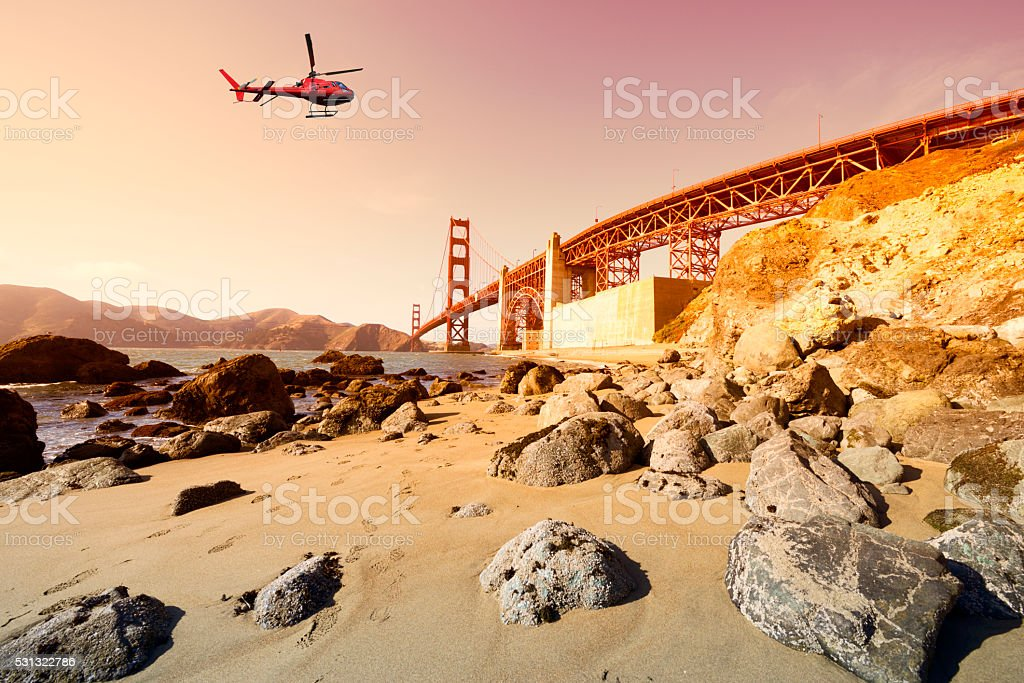 Helicopter tour over Golden Gate stock photo