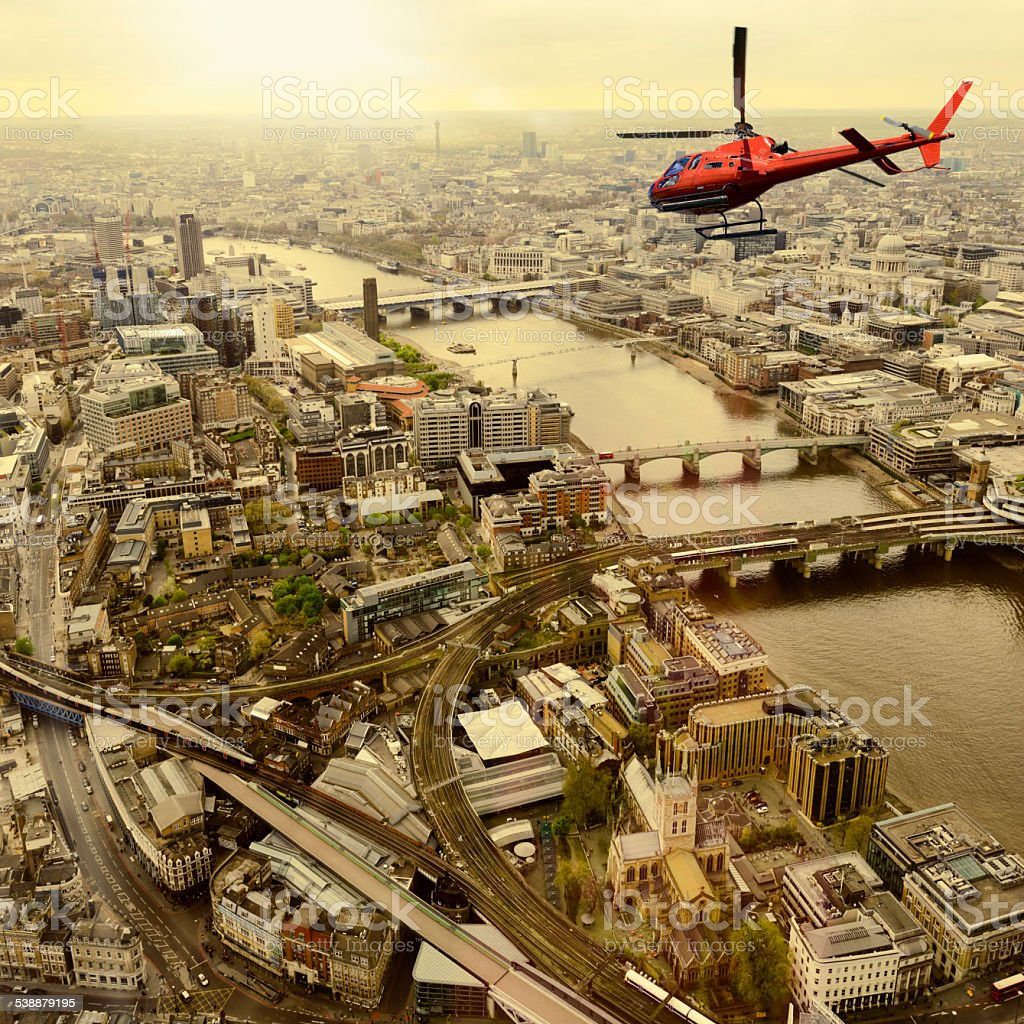 Helicopter Tour over London - England. Aerial View stock photo