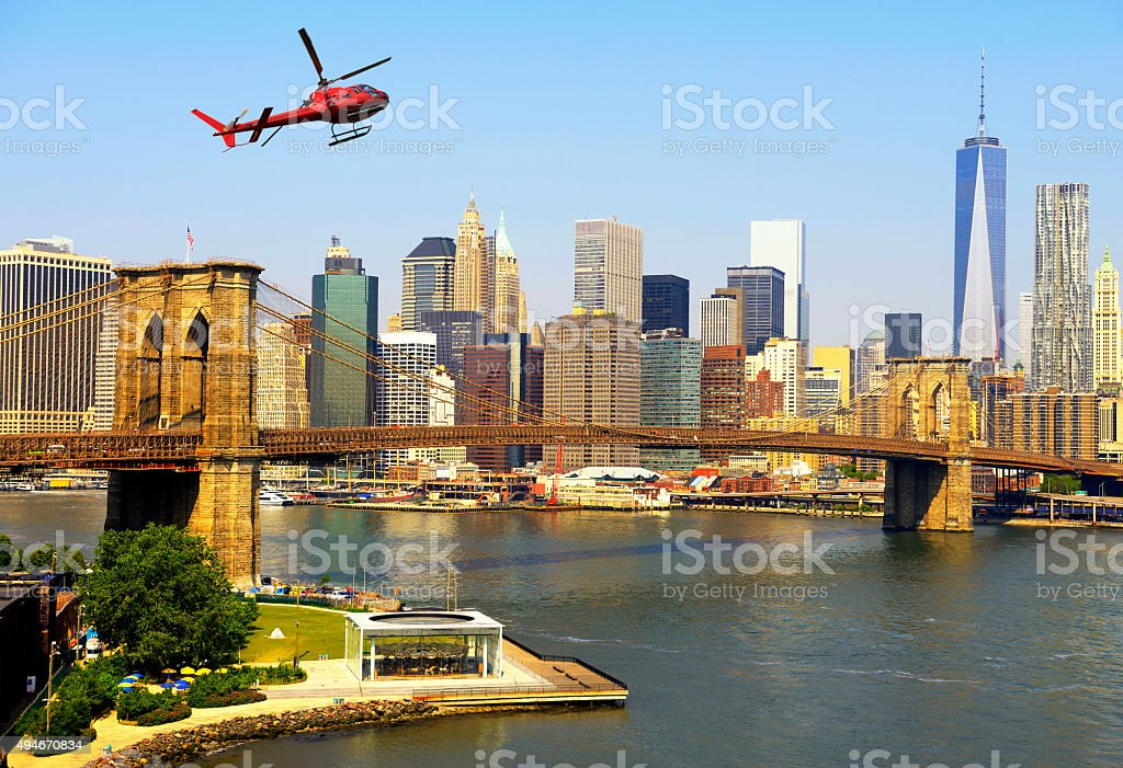 Helicopter tour over Manhattan stock photo