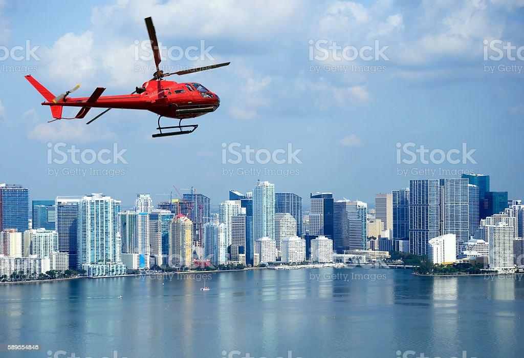 Helicopter tour over Miami stock photo