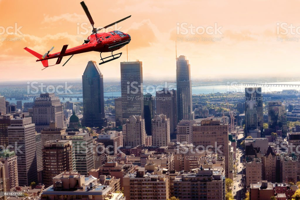 Helicopter tour over Montreal stock photo