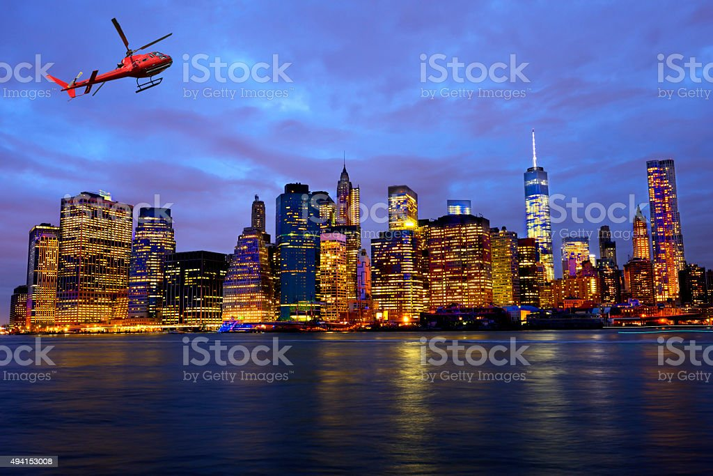 Helicopter tour over New York City stock photo