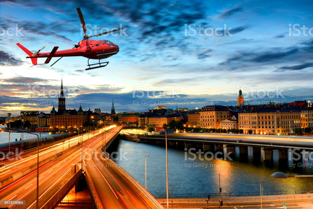 Helicopter tour over Stockholm stock photo