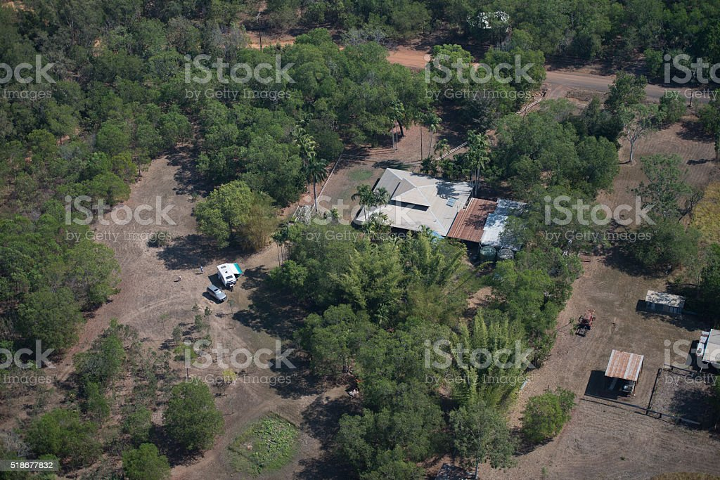Helicopter view of rural home in Darwin stock photo