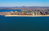 Helicopter view on Coney Island Beach and Boardwalk