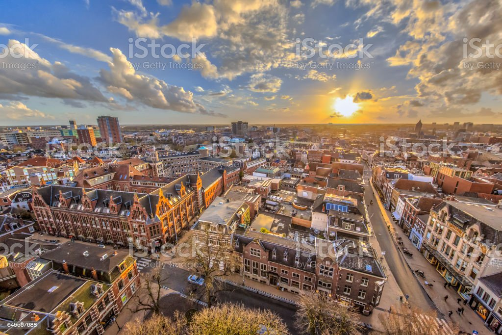 Helicopter View over Groningen city stock photo