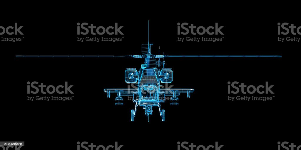 Helicopter wireframe game model stock photo