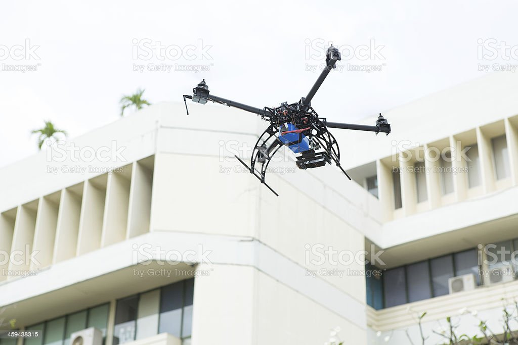 Helicopter with camera stock photo