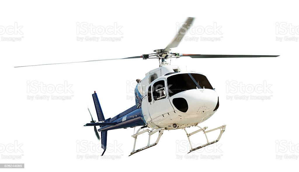 Helicopter with working propeller stock photo
