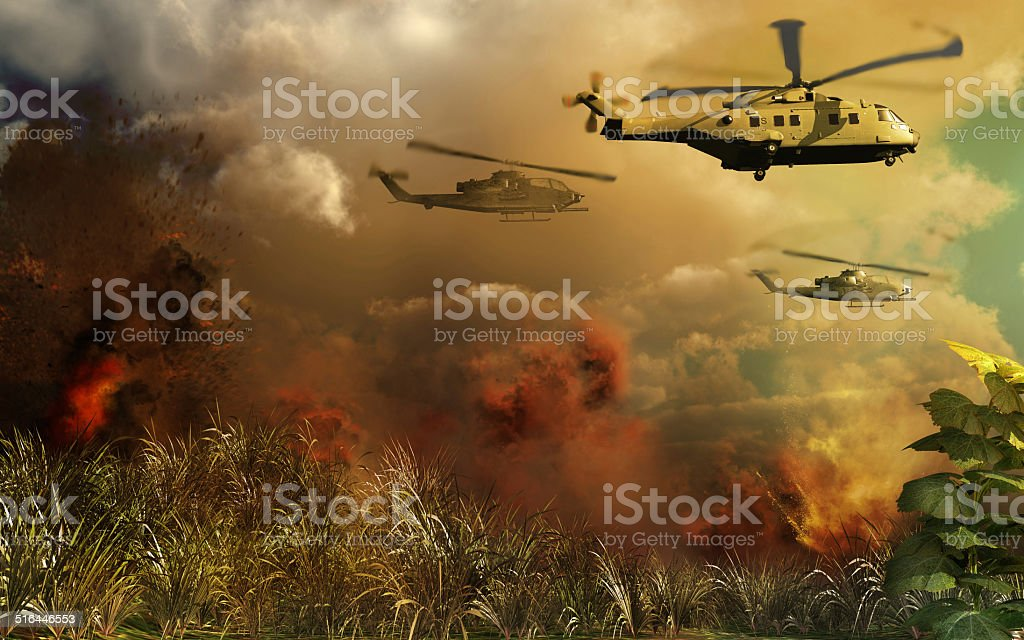 Helicopters above tropical jungle stock photo