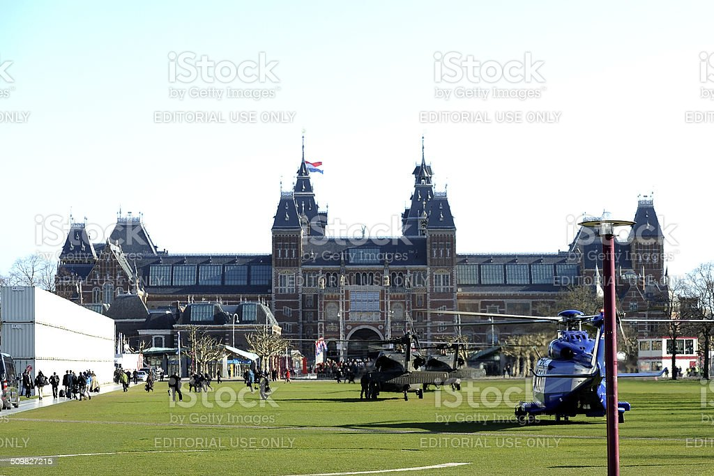 Helicopters in front of Rijksmuseum in Amsterdam stock photo