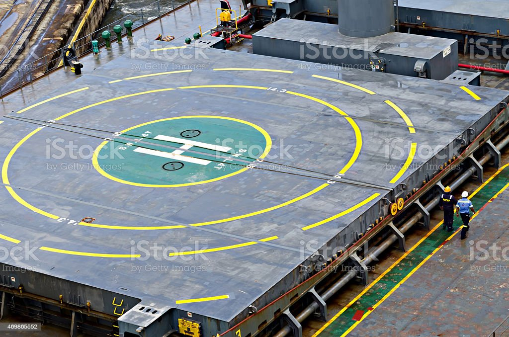 Helicpopter landing area on ship stock photo