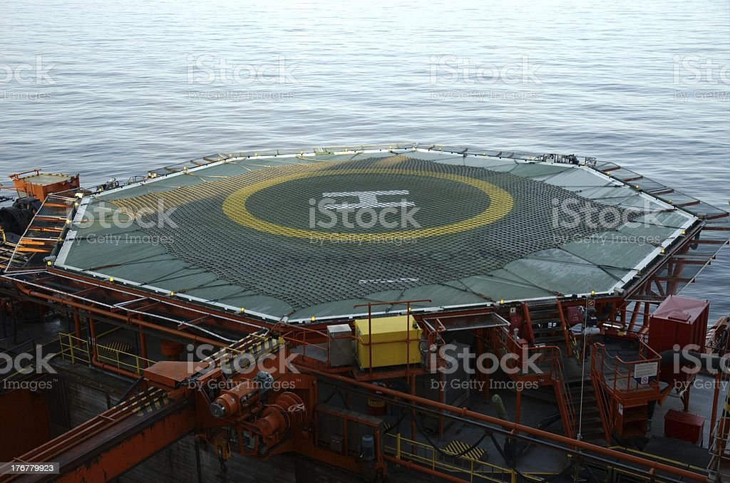 Helideck on offshore oil rig royalty-free stock photo
