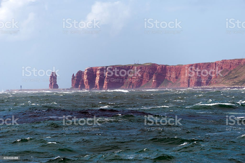 heligoland island in rough seas stock photo
