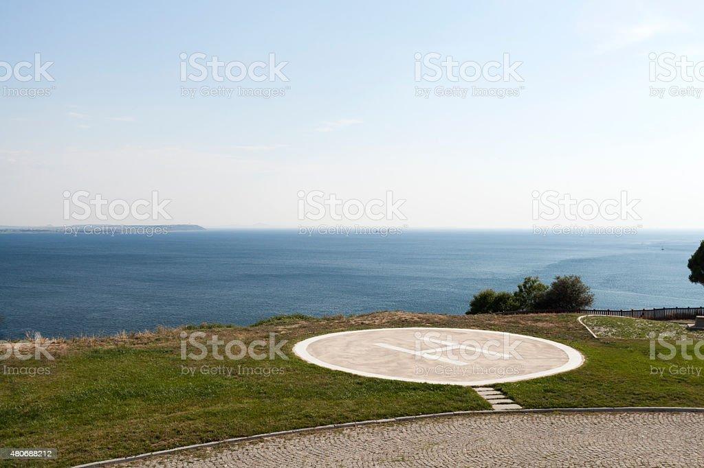 Helipad near the seaside stock photo