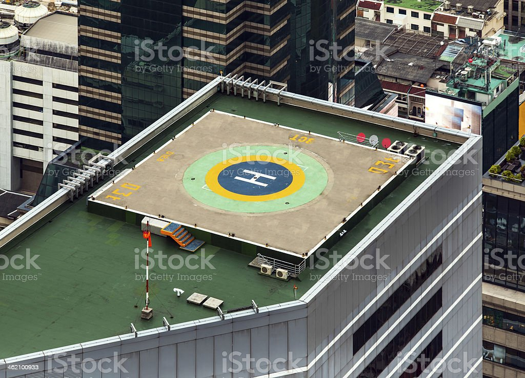 Helipad (Helicopter landing pad) on roof top building. stock photo