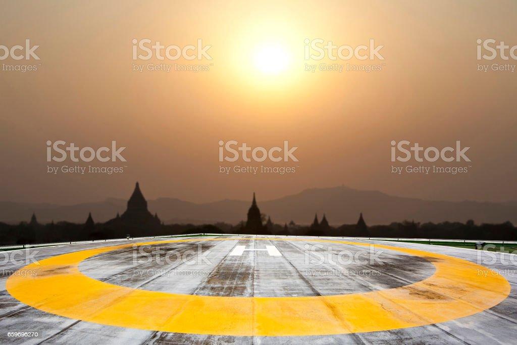 Helipad on Sunset background stock photo