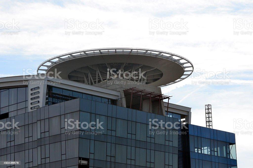 helipad on the building stock photo