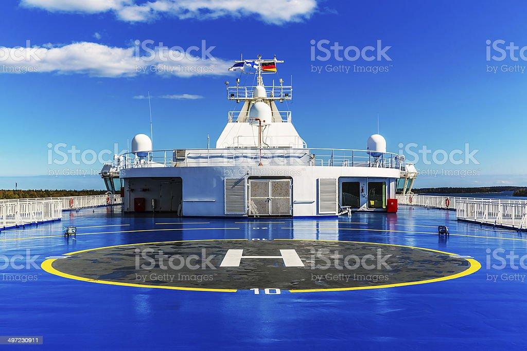 Helipad on upper deck of ship stock photo