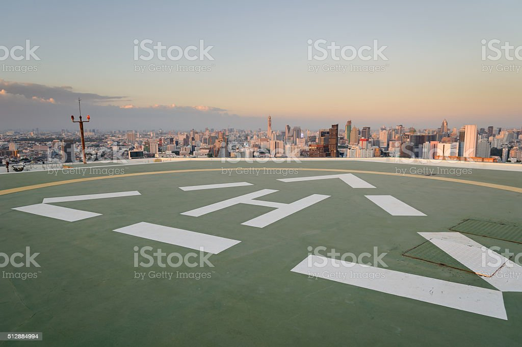 Helipad with cityscape view stock photo