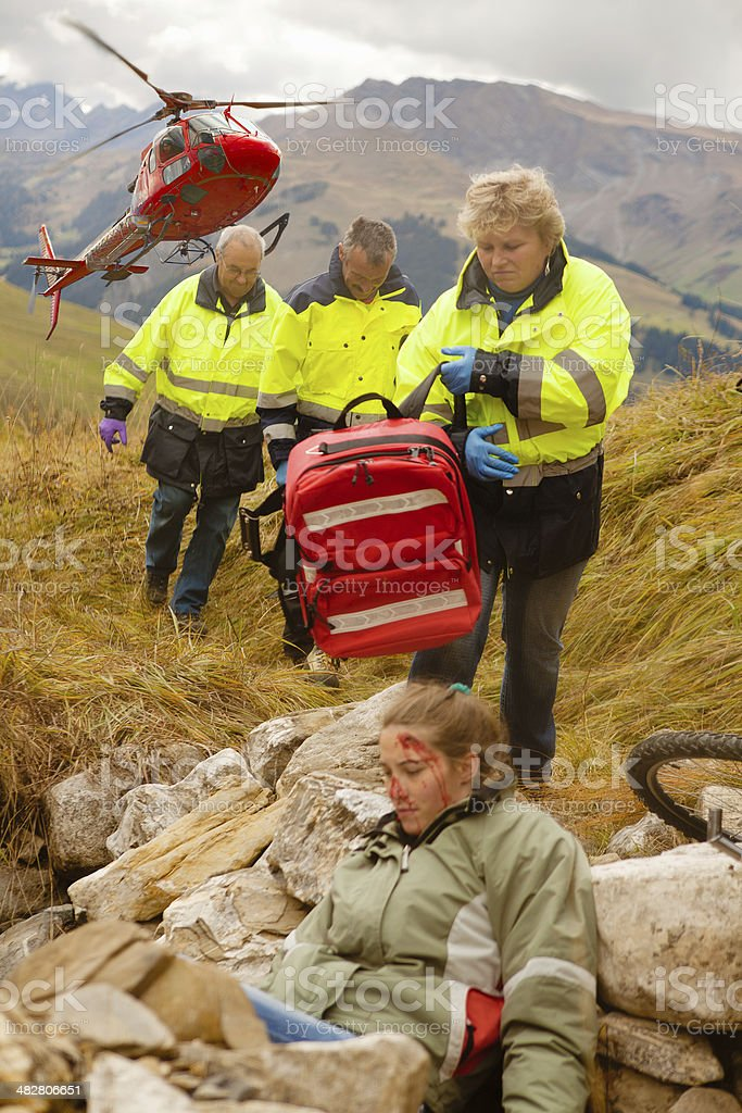 Heli-Rescue Team stock photo