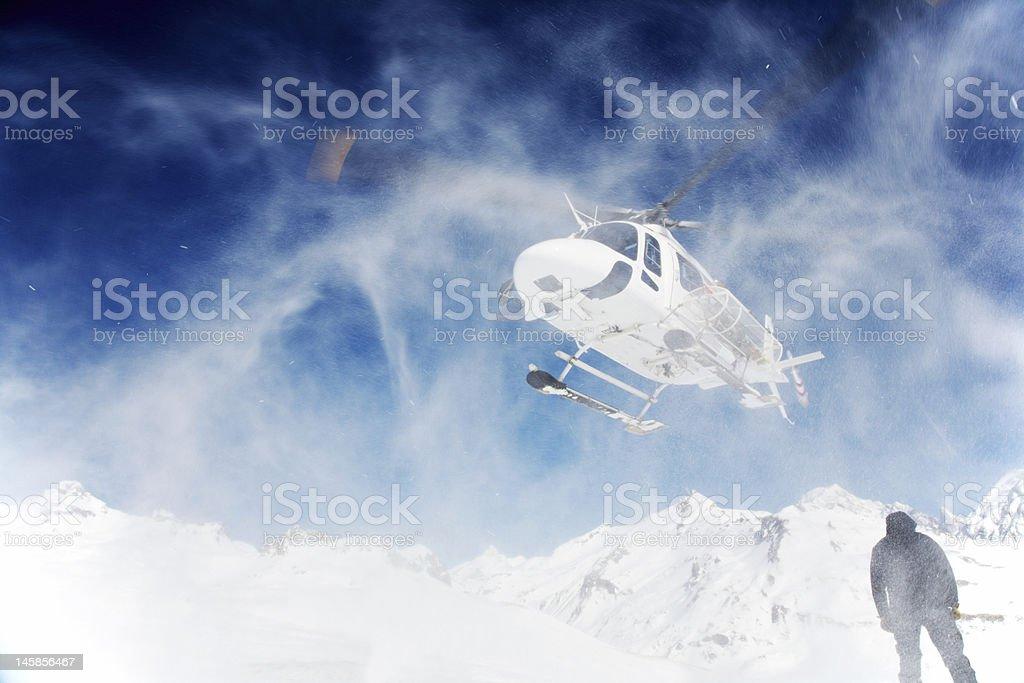 Heli-Skiing stock photo