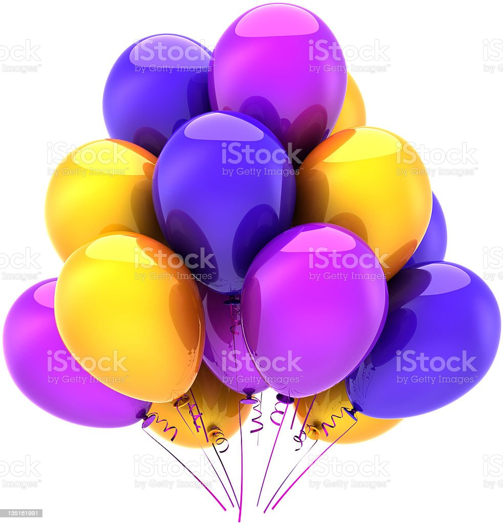 Helium balloons birthday party decoration multicolored royalty-free stock photo