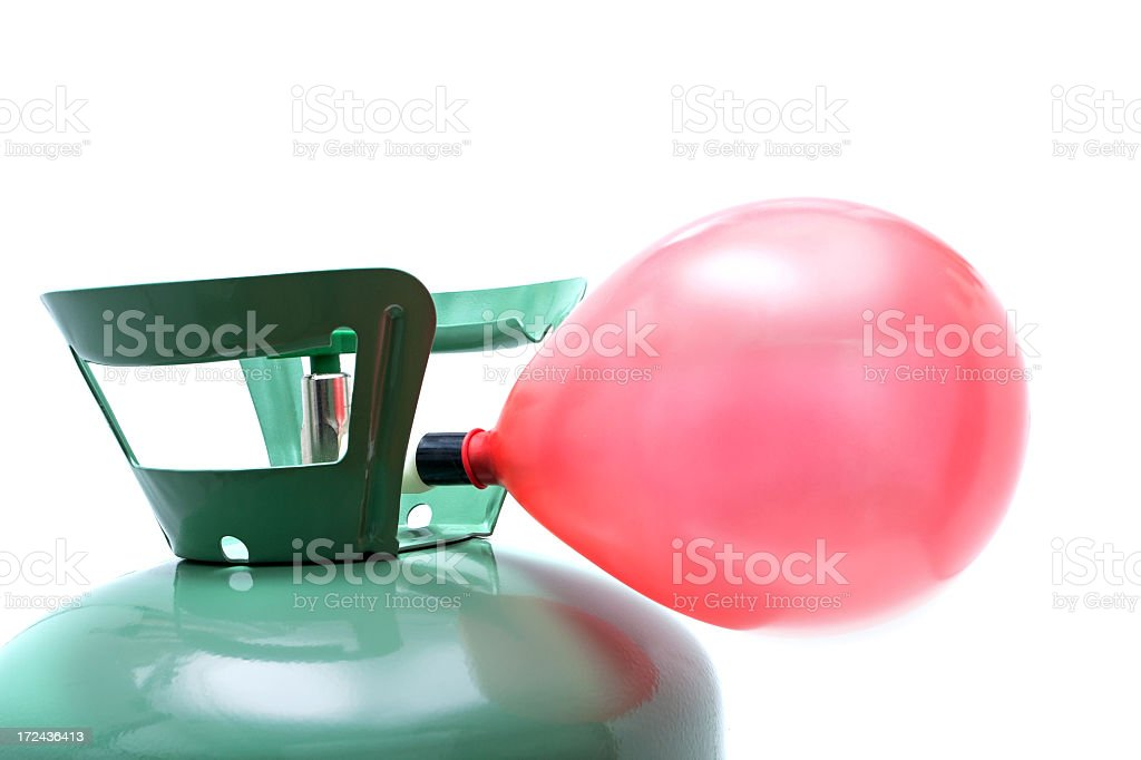 Helium gas cylinder and balloon isolated on white background stock photo